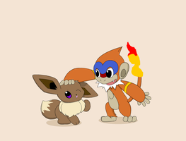 Eevee and Monferno by PokeHihi