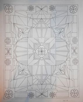 Completed Mandala Line Drawing (Color to Come) by VISSUTO