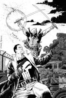 Punisher vs Deadpool -greywash by DeclanShalvey