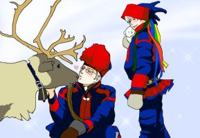 Nordic couple dressed as Sami by Inko-Dokotei