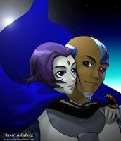 Raven and Cyborg by Angelic by CyborgxRaven-Club
