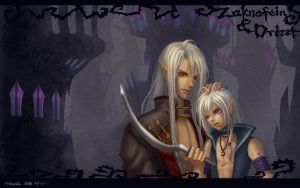 Zaknafein and Drizzt wallpaper by Athena-Erocith