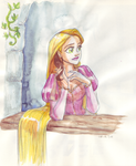 Rapunzel in tower by TaijaVigilia