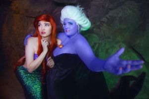 Ariel and Ursula Cosplay by MonkeyDKiba