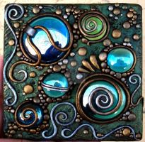 Polymer clay on acrylic tile by MandarinMoon