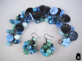 Sweet Blues Button Bracelet by TheFuzzyPineapple