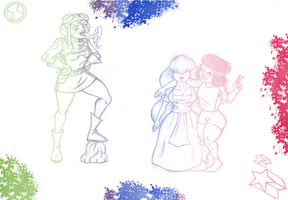 Princess Attea and Ruby x Sapphire by HystericalMellotron