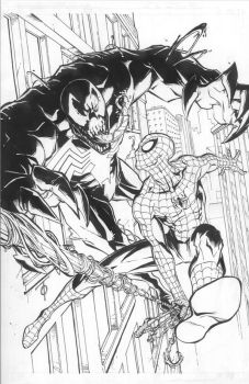 Spiderman vs Venom by 0boywonder0
