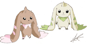 Lopmon and Terriermon by angel-in-disguise234