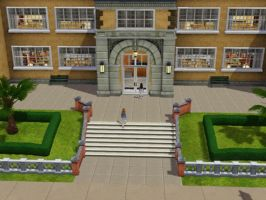 Sims 3 - Beauregarde Girls walk into the school by Magic-Kristina-KW