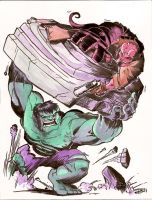 Hellboy vs. Hulk by derrickfish