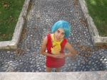 Bulma Vegeta hugs from above by stellinanera