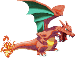 Charizard sprite by me with Photoshop touch-ups by Balthazar321