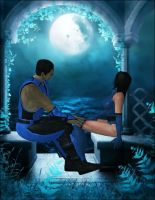 Sub Zero and Kitana by Lady-Lili