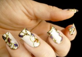 Abstract Gold Foiled Nail Art Design by TenLittleCanvases