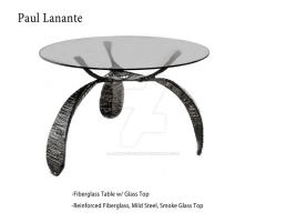 Fiberglass Table w Glass Top by LananteDesigns