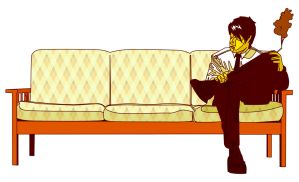 sitting on couch by oyaji