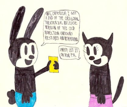 Oswald with DVD of Noveltoon Cartoons by HazardFire715