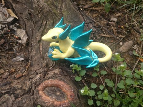 Polymer Clay Yellow and Blue Dragon by The-Crafty-Kestrel