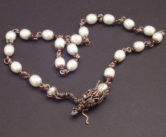 Dragon Pearl Necklace by WiredElements