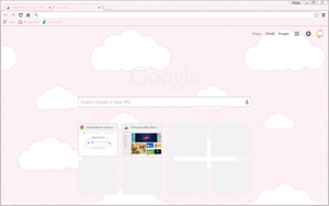 Pink Glitter Clouds - Google Chrome Theme by CupcakeyKitten