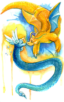 Dragonair and Dragonite by Lemguin