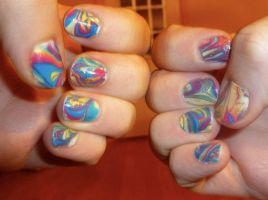 Marbled Nails by iluvsparkles