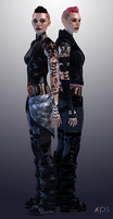 ME2 Alt and DLC outfits with mohawk by Nightfable