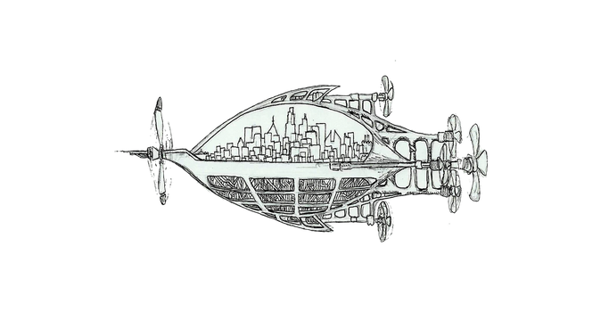 Airship City by Steampoweredfoxes