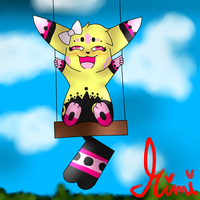 Amerella on the Swings by MimiTheFox