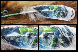 Paint on feather: North by WolfRoad