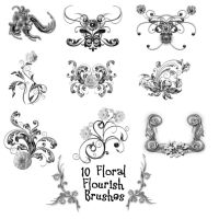 10 Floral Flourishes PS Brushe by Spyderwitch
