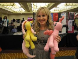 Andrea Libman with Pinkie Pie and Fluttershy by NerdyKnitterDesigns