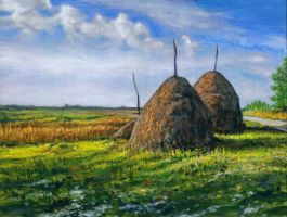3 Haystacks by JerryHubbard