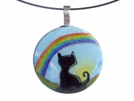Black Cat Rainbow Pendant by sobeyondthis