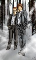casual sam and dean in suits by semie