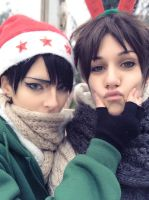 Santa Levi and Eren the reinder ~ by Shinkyokai