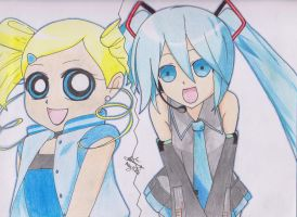 Bubbles and Hatsune Miku by LenaleeExorcist