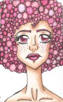 pink afro girl by TheLuckyStarhopper