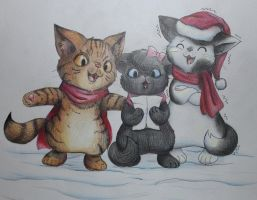 (late) christmas cats by MeowNi