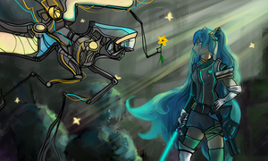 Miku and GLaDOs by EiliEnie
