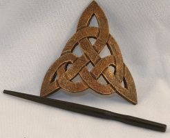 Leather Celtic Trinity Knot Hair Barrette by ArmouredWolf907