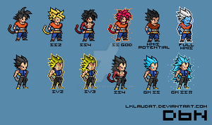 My Own Fan Forms and Suits of Goku and Vegeta by lklaudat