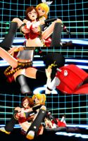 Meiko vs Rin and Kaai Yuki in Handicap match(1) by tousato