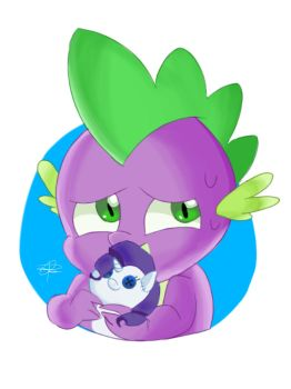 Spike and Rarity - MLP Fanart - (AT) by pdcdraws