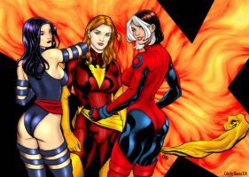 Rogue, Dark Phoenix, Psy by Angelinleather