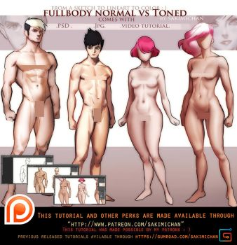 Normal Vs Toned/muscular  tutorial pack .promo. by sakimichan