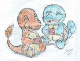 Charmander and Squirtle by The-B-Meister