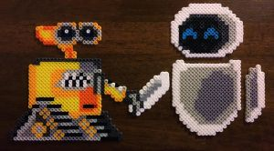 Wall.E and Eve One Perler Sprites by UberNerd121
