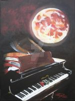 Piano and Moon by vilicia